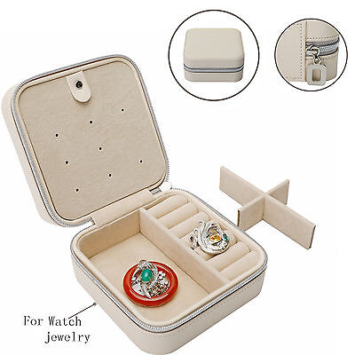 Fashion Travel Jewelry Box For Leather Ring Storage Case Necklace Holder Watch