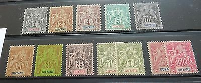 £££ Guyane - colonie France - collection type Groupe MH* année 1892 High CV