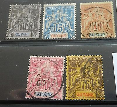 £££ Guyane - colonie France - collection type Groupe used année 1892 High CV