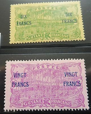 £££ Guyane - colonie France - timbre stamp n° 95 / 96 - MH* année 1923