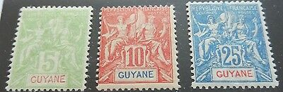 £££ Guyane - colonie France - timbre stamp n° 43 / 44 / 45 - MH* - 1900