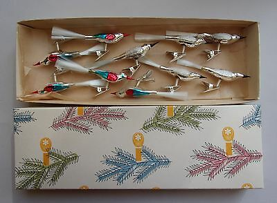 BOX of 10  CLIP ON BLOWN GLASS SONG BIRDS CHRISTMAS ORNAMENTS