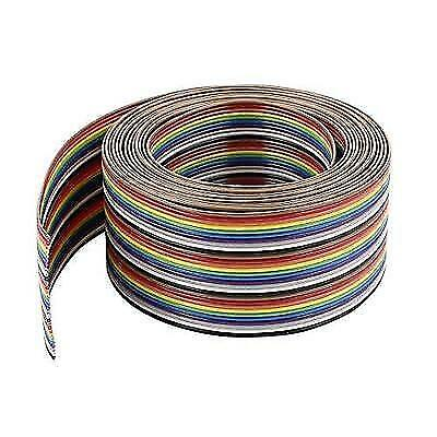 Uxcell IDC Wire Flat Ribbon Cable 30Pin 1.27mm 10Ft Rainbow Color New