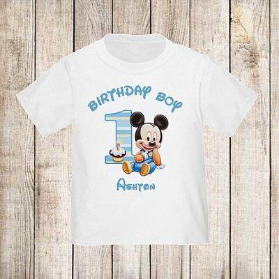 1st Birthday Boy Mickey Mouse Blue Personalized t-shirt ANY Name Kids NEW