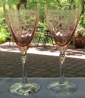 Set of TWO Fostoria Pink June Etch Water Goblets