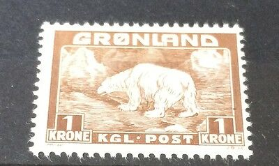 £££ Groenland 1938 - timbre N°9 - MH* - Ours Polaire