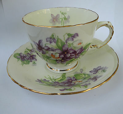 Vintage HM Sutherland England Bone china violets cup and saucer set