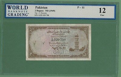 Pakistan 1949 Rs.2 Minar Note- Zahid Hussain Sign P-11  Rare
