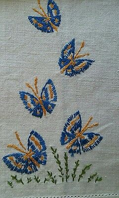 """Vintage 19"""" Off-White Linen Tea Towel ~ Hand Embroidered ~ Blue Butterflies"""