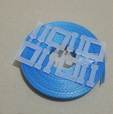 1x Kit BLUE: 15m/12mm strapping 150kg brake + 4x plastic buckle - Hand pallet