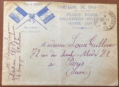 £££ France - cover campagne 1914 / 1915 courrier Guerre - France Russie