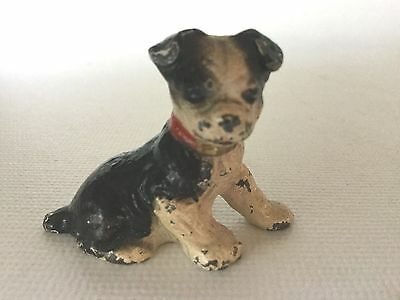 Vintage HUBLEY Miniature BOSTON TERRIER Dog Place Card Holder Cast Iron Figure