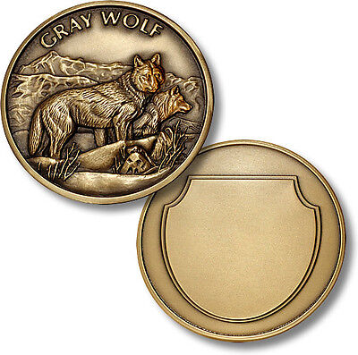Gray Wolf antique Bronze coin Alpha Male and Female