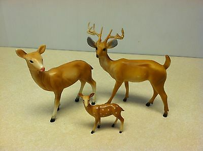 Vintage Hong Kong Plastic 653 Deer Family Buck Doe Fawn Figures