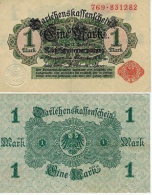 Germany 1 Mark Reichs Banknote 1914 Imperial Empire Wwi Currency Wwii Ww2 Look!