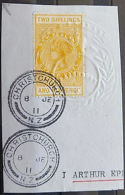 £££ New Zealand - timbre stamp fiscal duty 2 shillings 1911 - used Christchurch