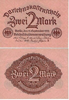 Germany 2 Mark Reichs Banknote 1922 Imperial Empire Wwi Currency Wwii Ww2 Look!
