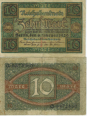 Germany 10 Mark Reichs Banknote 1920 Imperial Empire Wwi Currency Wwii Ww2 Look!