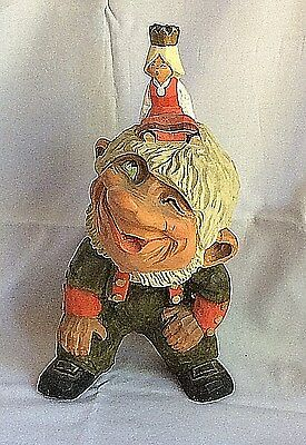 Vintage Henning Norway Hand Carved Wood Troll with Carved Princess 10 3/4'' tall