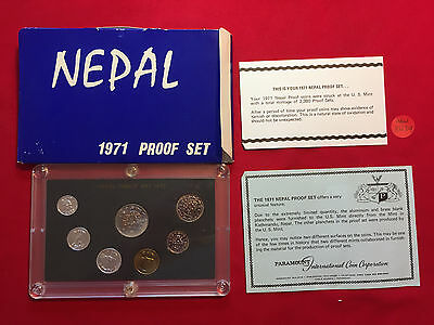 mw8439 Nepal; 1971 - 7 Coins Proof Set