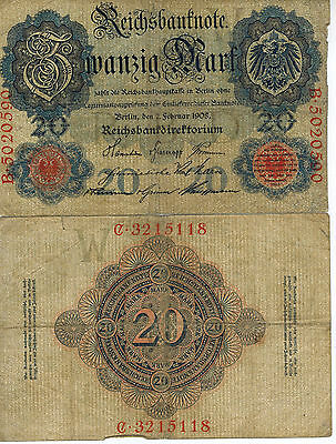 Germany 20 Mark Reich Banknote 1908 Imperial Empire Wwi Currency Wwii Ww2