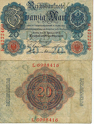 Germany 20 Mark Reich Banknote 1914 Imperial Empire Wwi Currency Wwii Ww2