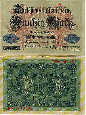 Germany 50 Mark Reichs Banknote 1914 Imperial Empire Wwi Currency Wwii Ww2