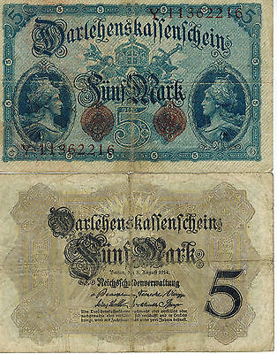 Germany 5 Mark Reichs Banknote 1914 Imperial Empire Wwi Currency Wwii Ww2