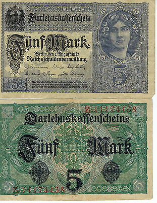 Germany 5 Mark Reichs Banknote 1917 Imperial Empire Wwi Currency Wwii Ww2