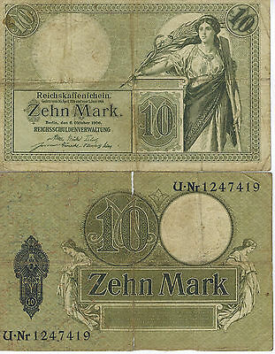 Germany 10 Mark Reichs Banknote 1906 Imperial Empire Wwi Currency Wwii Ww2