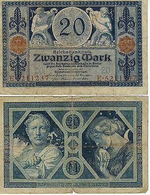 Germany 20 Mark Reich Banknote 1915 Imperial Empire Wwi Currency Wwii Ww2