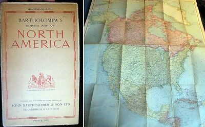 1944 North America Linen Backed Map Bartholomew
