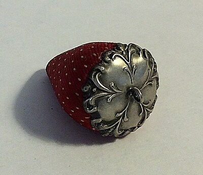 Antique Unmarked  Caped Sterling Silver Red Strawberry Pin Cushion # 358