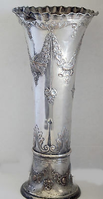 """ANTIQUE BRIDAL Wreath 1880's VASE Silver Plated  20"""" TALL"""