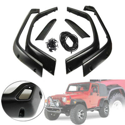 "6PCS 97-06 Jeep Wrangler TJ 6"" Wide Black Pocket Extended Fender Flares Kit US"