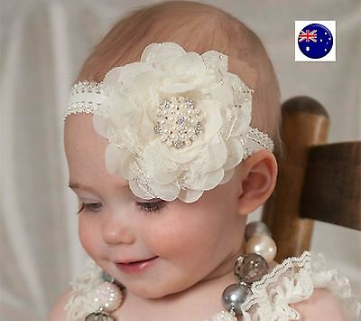 baby Infant Kid Children Girls Christening Shower Chiffon Lace Hair Head band