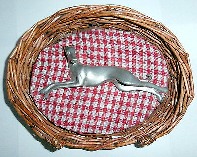 """Solid Pewter Greyhound Stretched Out Sleeping In Dog Bed By Terry Lerner 5"""" Long"""