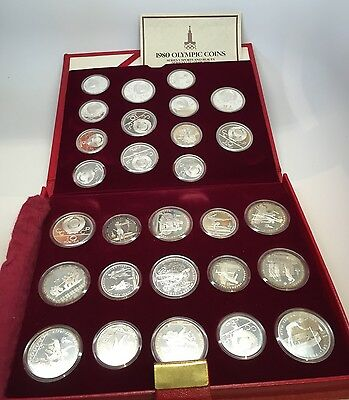 1980 Moscow Olympic Sterling Silver 28 Coin Proof  Set with Book