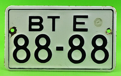 VTG 50's Bulgarian 88-88 Car License plate Porcelain Enamel number Man cave sign