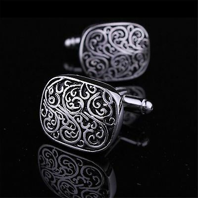 Classical Square Floral Engraved Cuff Link Gold/Silver Metal Men Dress Cufflinks