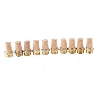 Brass Noise Reducing Pneumatic Muffler Silencer 2PT Male Thread 10 Pcs