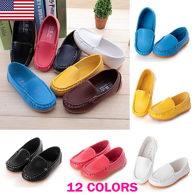 US Kid Boys Girls Soft Loafers Oxford Flats Casual PU Boat Shoes Toddler Slip On