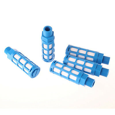 Plastic Pneumatic Noise Reducing Silencer Muffler 3/8PT 5 Pcs Blue