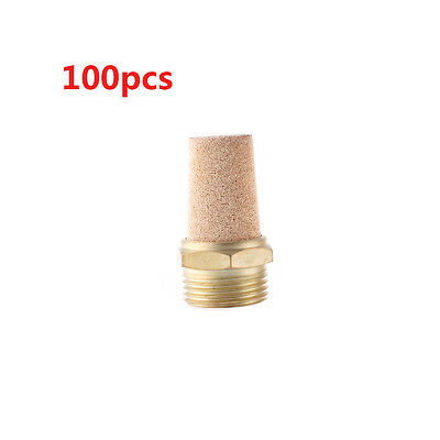 100Pcs Brass 3/8PT Male Thread Noise Reducing Muffler Silencer Filter
