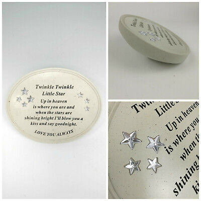 Twinkle Little Star Oval Plaque Graveside Child Baby Memorial Ornament Tribute