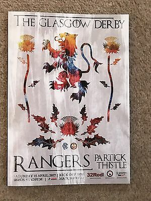 Rangers v Partick Thistle 15th April  2017 Mint New  Programme Unread