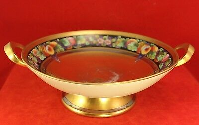 """Antique Pickard 9¾"""" Fruit Band Gilt Handled Compote Bowl - Signed TOLPIN"""