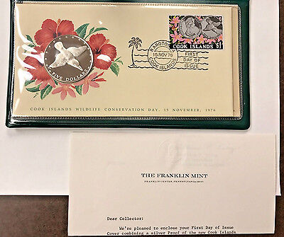 Wow! 1976 Cook Islands Silver Proof $5 Coin + Stamp Fdc Set With Coa !