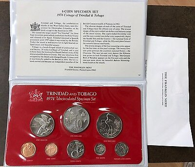1974 Trinidad And Tobago 8-Coin Silver Uncirculated Specimen Set In Packaging
