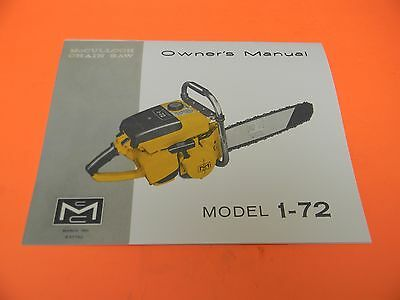 MCCULLOCH CHAINSAW MODEL 250 & 300 Owners Manual